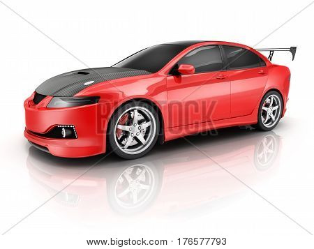Red sport car on white background. 3d illustration