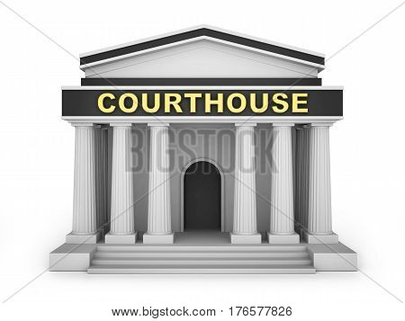 Courthouse building small on white background. 3d illustration