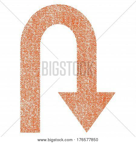 Turn Back vector textured icon for overlay watermark stamps. Fabric orange vectorized texture. Symbol with dust design. Rubber seal stamp with fiber textile structure.