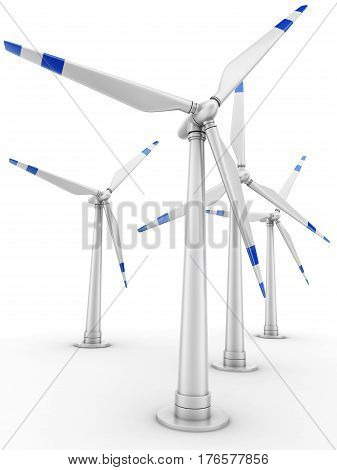 Wind-powered generator on white background. 3d illustration