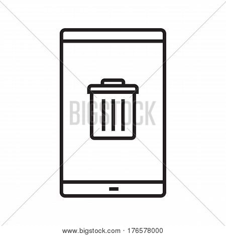Smartphone data delete linear icon. Thin line illustration. Smart phone with trash contour symbol. Vector isolated outline drawing