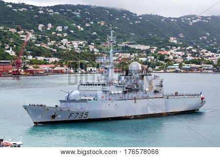 French Naval Ship sailing in St Thomas