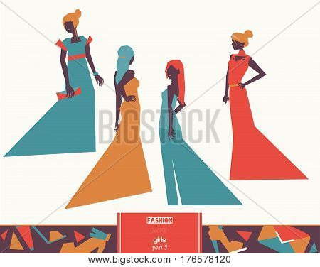 Vector fashion girls in different evening dresses apparel various poses and accesories. Bright illustration for vogue and fashion purposes in vivid colors isolated on white background