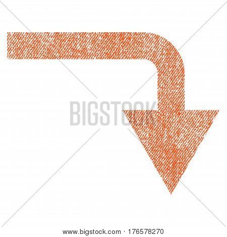Turn Down vector textured icon for overlay watermark stamps. Fabric orange vectorized texture. Symbol with dirty design. Rubber seal stamp with fiber textile structure.