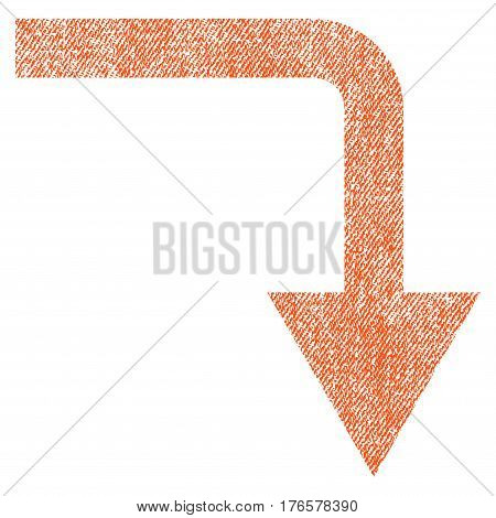 Turn Down vector textured icon for overlay watermark stamps. Fabric orange vectorized texture. Symbol with dust design. Rubber seal stamp with fiber textile structure.