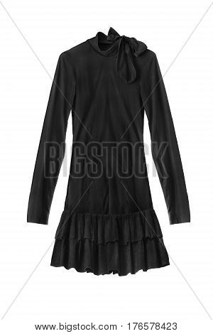 Black mini dress with long sleeves on white background