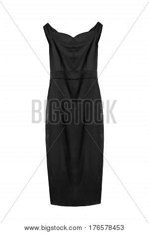 Black satin formal elegant dress on white background