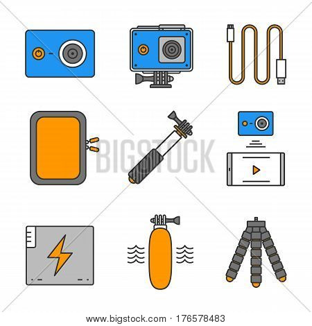 Action camera color icons set. Sport cam, usb cable, battery, phone connection, waterproof case, selfie monopod stick, floating grip, box, tripod. Isolated vector illustration