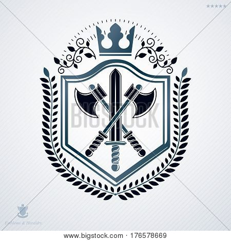 Vintage decorative heraldic vector emblem composed with armory and monarch crown