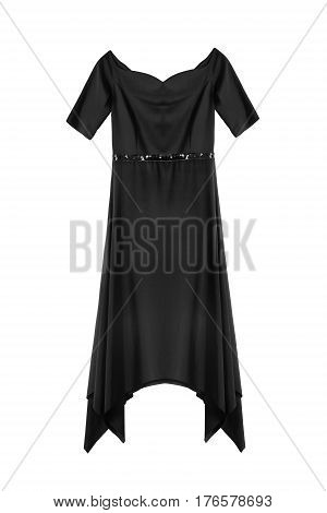 Black satin knee length formal dress isolated over white
