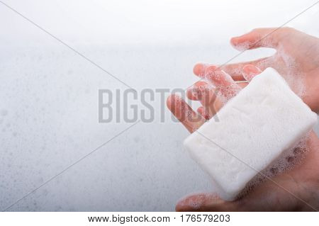 Child Washing Hands With Soap