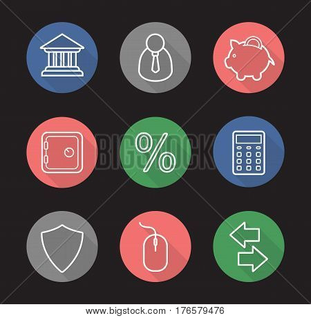 Banking and finance flat linear long shadow icons set. Bank building, businessman, piggybank, safe deposit box, percent, calculator, protection shield, money exchange arrows. Vector line illustration