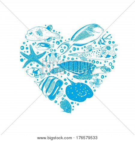 Vector heart of sea and ocean inhabitants.