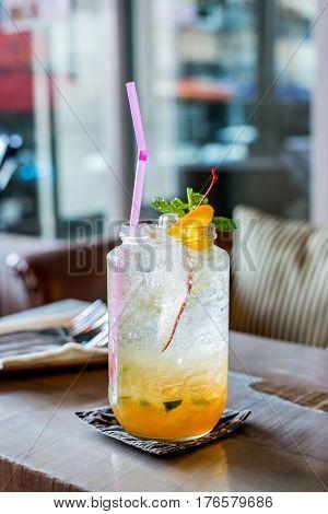 fresh Ice lemon soda healthy drink water