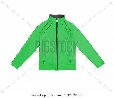Green Women's Training Sports Jacket; Isolated On White Background