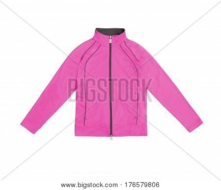 Pink Women's Training Sports Jacket; Isolated On White Background