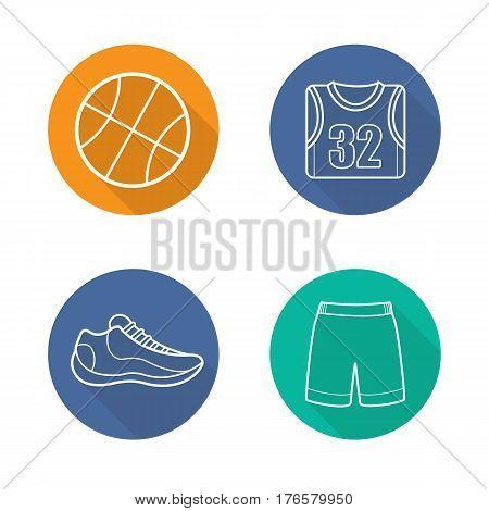 Basketball flat linear long shadow icons set. Ball, shoe, t-shirt, shorts. Basketball player's uniform. Vector line illustration