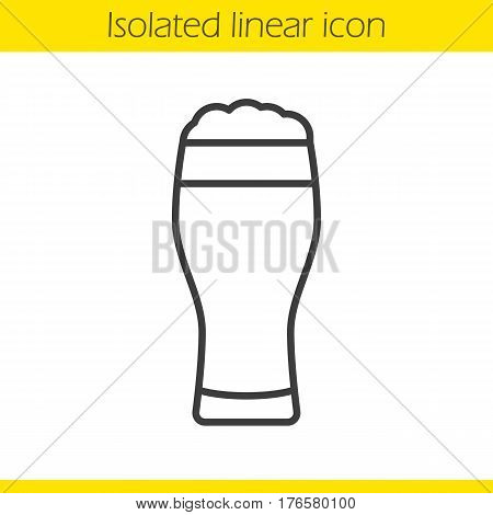 Beer glass linear icon. Thin line illustration. Full foamy light beer glass. Contour symbol. Vector isolated outline drawing