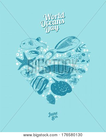 World Oceans Day. June 8th. Vector heart of ocean inhabitants.