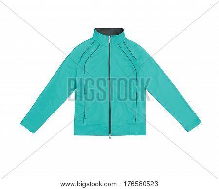 Turquoise Blue Women's Training Sports Jacket; Isolated On White Background