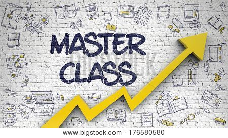 Master Class - Modern Illustration with Hand Drawn Elements. Master Class - Enhancement Concept with Doodle Icons Around on the White Brickwall Background. 3d.