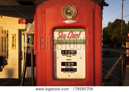 Dwight Illinois USA - July 5 2014: Old Gas Pump at a gas station along the Route 66 in Dwight Illinois USA.