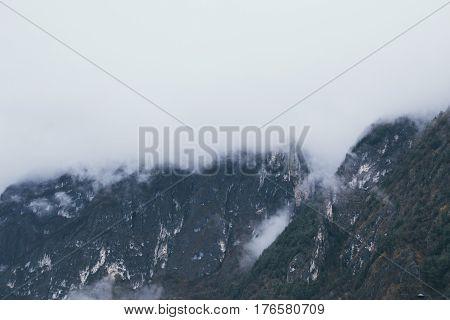 Weathet, snow, beautiful alpine landscape alpinism ski