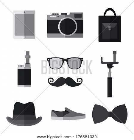 Set of simple monochrome hipster accessory flat icons on white background vector illustration