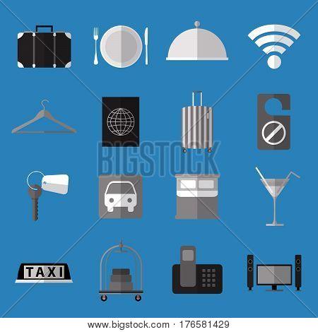 Set os simple  monochrome hotel symbols flat icons on blue background vector illustration