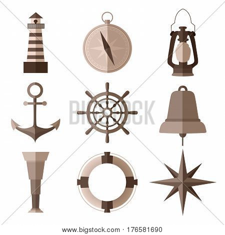 Set of monochrome nautical flat symbols on white background vector illustration