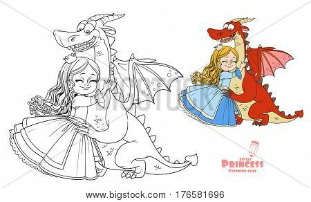 Little Princess Hugs Dragon Color And Outlined Picture For Coloring Book On White Background