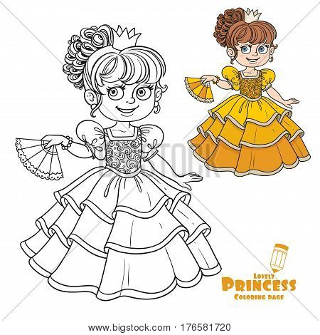 Lovely Princess With Fan In Hand Color And Outlined Picture For Coloring Book On White Background