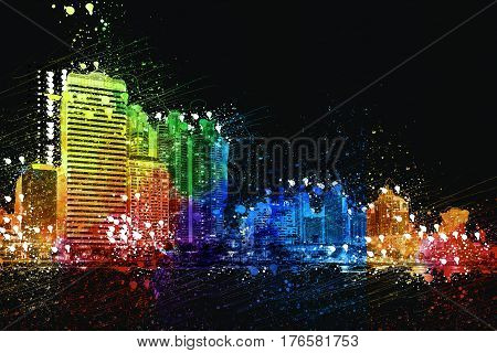 Bangkok city downtown at night with reflection of skyline BangkokThailand