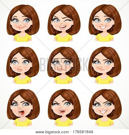 Beautiful Cartoon Brunette Girl With Dark Chocolate Color Hair Portrait Of Different Emotional State