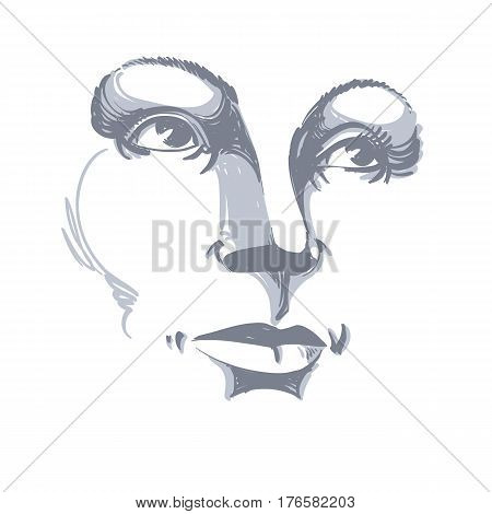 Black and white illustration of lady face delicate visage features. Eyes and lips of a woman expressing positive emotions.