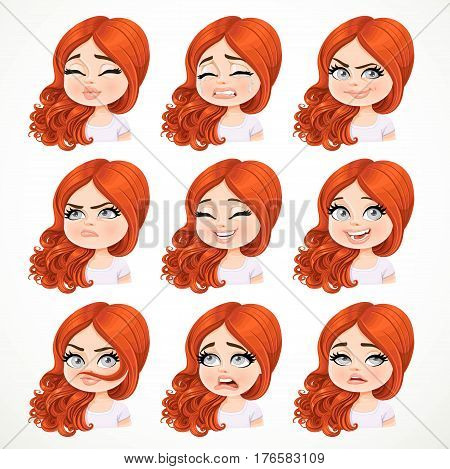 Beautiful Cartoon Brunette Redhaired Girl Portrait Of Different Emotional States Set 2 Isolated On W