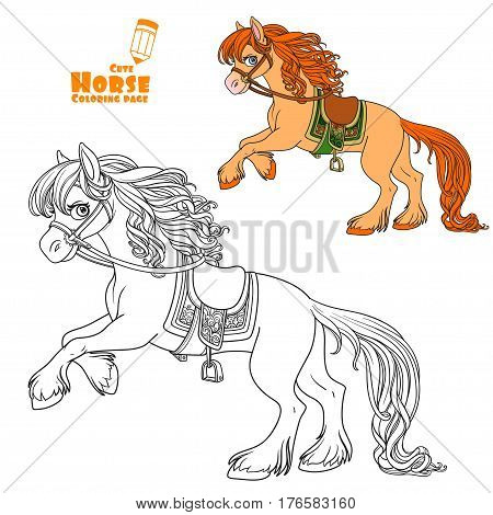Cute Horse With Lush Mane Bucks Front Hooves Color And Outlined Picture For Coloring Book On White B