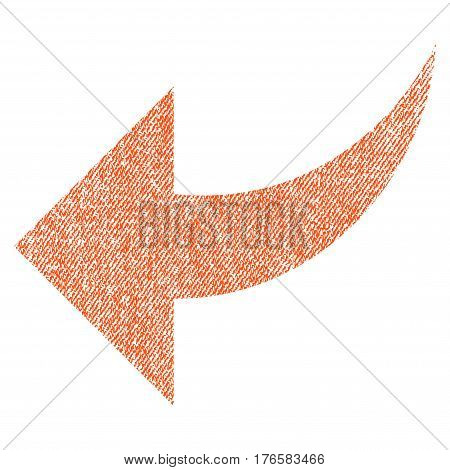 Undo vector textured icon for overlay watermark stamps. Fabric orange vectorized texture. Symbol with dust design. Rubber seal stamp with fiber textile structure.