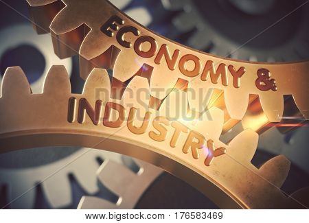 Golden Cog Gears with Economy And Industry Concept. Economy And Industry on the Mechanism of Golden Cog Gears. 3D Rendering.