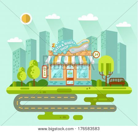 Vector flat style illustration of City landscape with bath and body shop building street with road bench trees sun. Signboard with big wash tub with foam and duck. Shop vitrine with room utensils.
