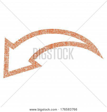 Undo vector textured icon for overlay watermark stamps. Fabric orange vectorized texture. Symbol with dirty design. Rubber seal stamp with fiber textile structure.
