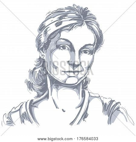 Vector drawing of distrustful woman with stylish haircut. Black and white portrait of doubter lady do not lie to me.