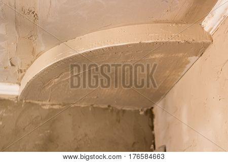 ceiling drywall repair in the room in plaster
