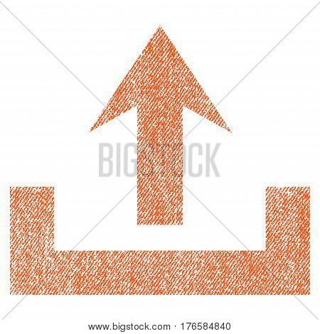 Upload vector textured icon for overlay watermark stamps. Fabric orange vectorized texture. Symbol with dirty design. Rubber seal stamp with fiber textile structure.