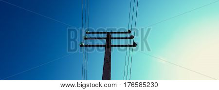 Electric pole. Lone electric pole - support