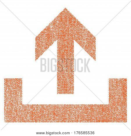 Upload vector textured icon for overlay watermark stamps. Fabric orange vectorized texture. Symbol with unclean design. Rubber seal stamp with fiber textile structure.
