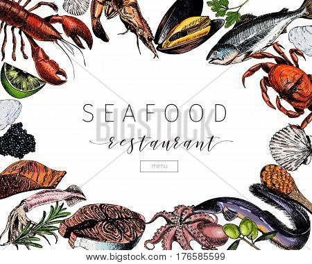 Vector hand drawn seafood banner.colored Lobster salmon crab shrimp octopus squid clams.Engraved art in square border composition.Delicious menu objects. restaurant promotion market store flyer