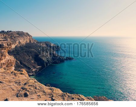 Minimal View Of Sea, Crimea. Morning Seascape Of Rocky Shore In Morning Sunshine. Minimalism.