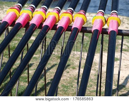 Critical orr adjustments are colorful reminders of races won and lost. The rowing team practice with competition in mind.