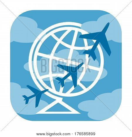 Air travel icon with airplanes and Earth globe